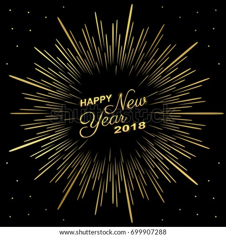 Golden happy new year 2018 with fireworks on black color background