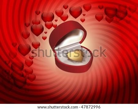 Golden Heart in saffian box - stock vector