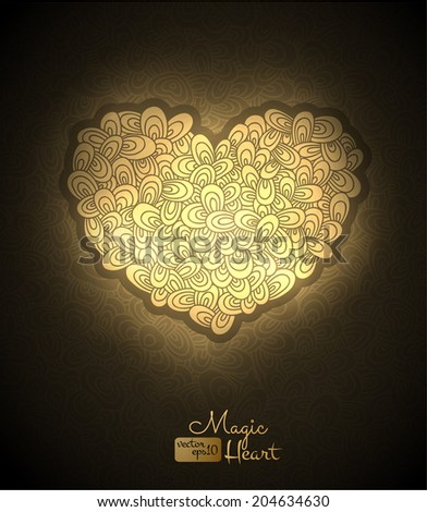 Golden heart vector background. Vector eps10. - stock vector