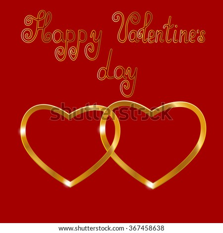 Golden hearts on a red background with handwritten inscription - happy Valentine's day
