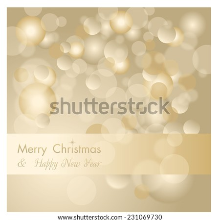 Golden holiday vector abstract Christmas background with glitter defocused lights - stock vector