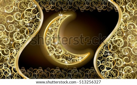 Golden holidays card with moon, vector illustration