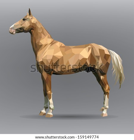 golden horse isolated on a gray background - stock vector