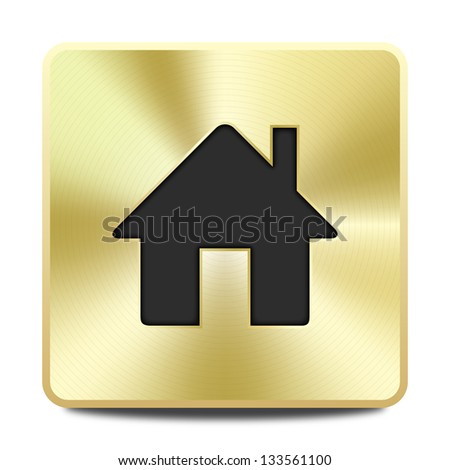 Golden house icon - stock vector