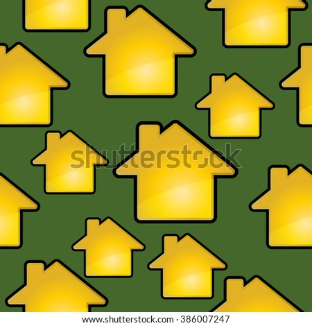 Golden houses on a green. Seamless vector pattern.
