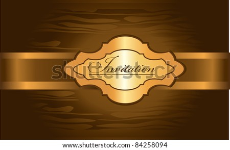 golden invitation on the shining brown background - stock vector