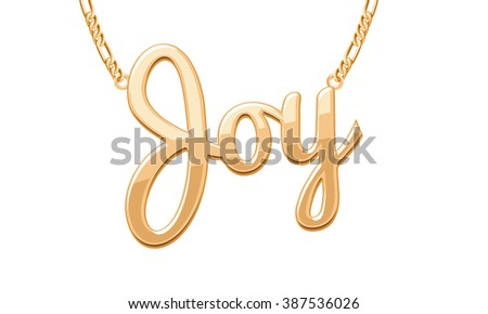Golden joy word pendant on chain stock vector 387536026 shutterstock golden joy word pendant on chain necklace jewelry design aloadofball Gallery