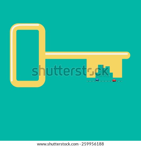 Golden key from the city Road, car, skyscraper icon Flat design Green background Vector illustration - stock vector