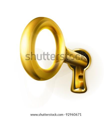 Golden key, vector - stock vector