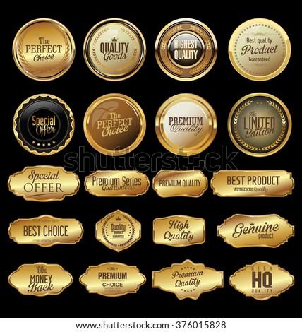 Golden label retro vintage collection - stock vector