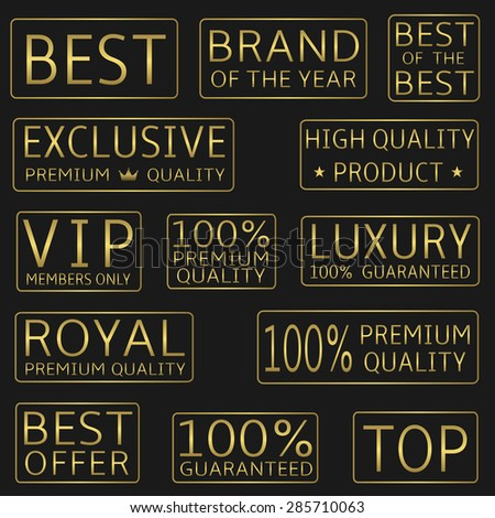 Golden label set: best, royal, VIP, top, premium quality, luxury, best offer icons