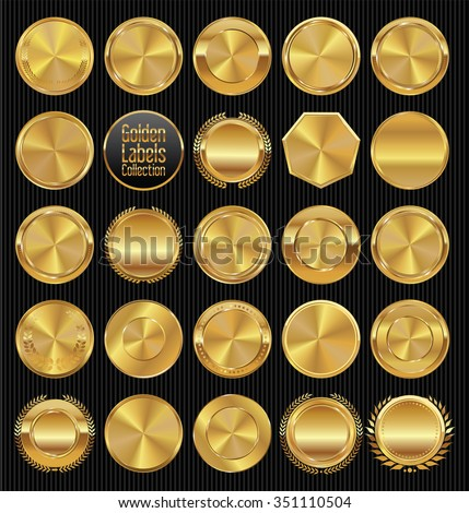 Golden labels and badges collection - stock vector