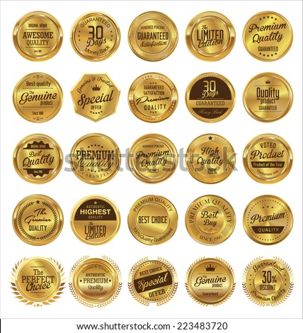 Golden labels premium quality collection - stock vector