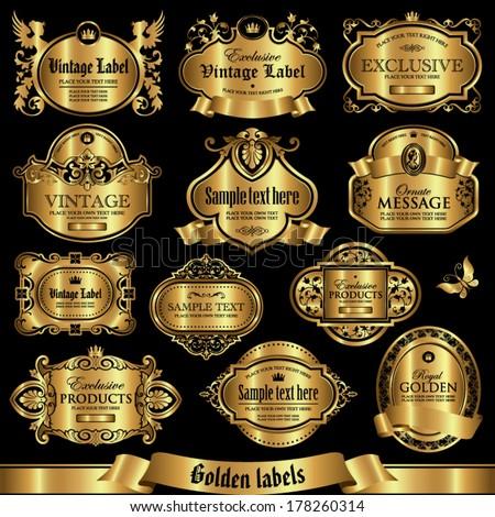Golden labels set 1 - stock vector