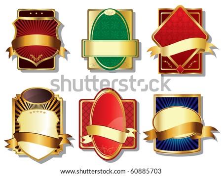 Golden labels vector - stock vector