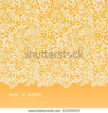 Golden lace roses horizontal seamless pattern background - stock vector