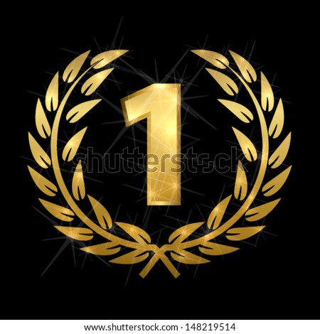 Golden laurel with number one  - stock vector