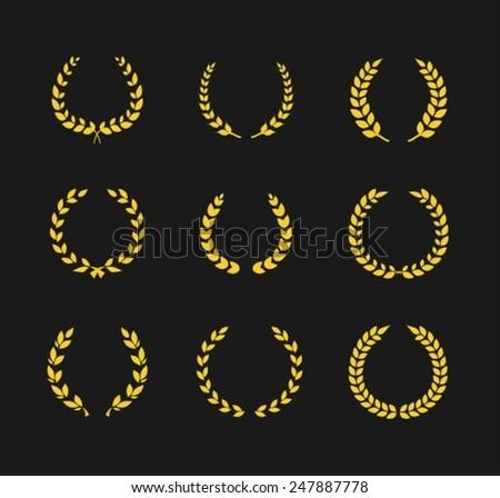 Golden Laurel Wreaths  - stock vector