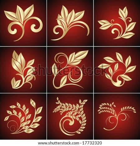 Golden leaves. Elements for design. - stock vector