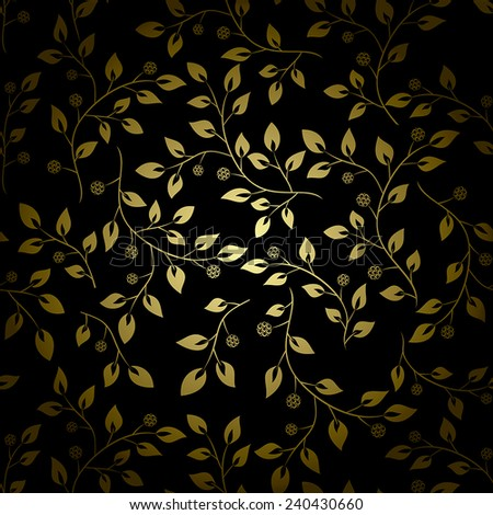 golden leaves on black background - vector - stock vector