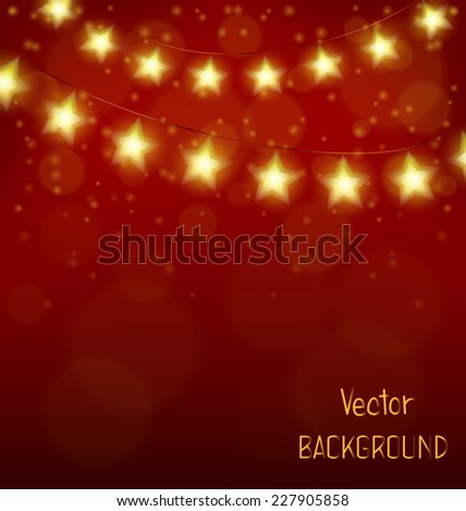 Golden led Christmas lights in form of stars on red background - stock vector