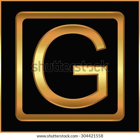 Golden letter G.Golden alphabet letter G logo.Vector illustration. - stock vector