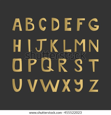 Golden letters isolated on black background. Vector alphabet typography poster. Latin font.