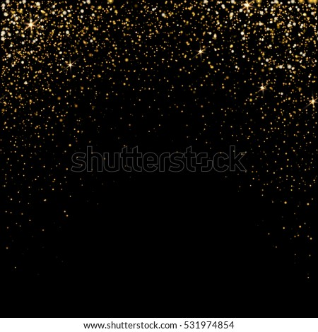 Golden light effect. Star burst light with golden sparkles. Vector illustration on black
