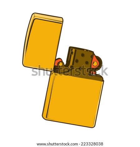Golden lighter isolated on a white background. Color line art. Retro design. Vector illustration. - stock vector