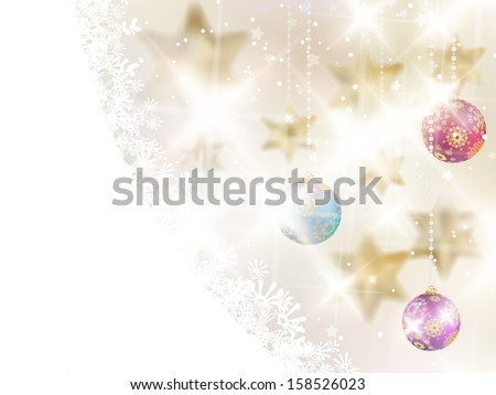 Golden Lights and Stars Christmas Background. EPS10