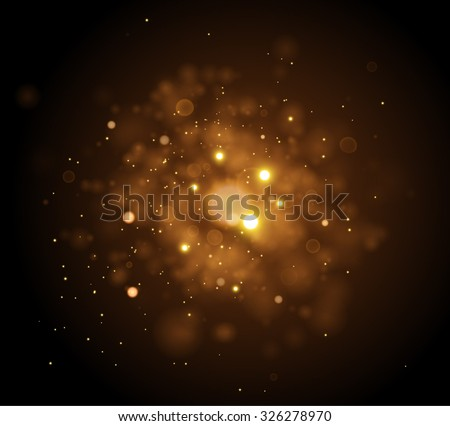 Golden Lights Background. Christmas Lights Concept. Vector illustration. - stock vector