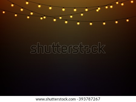 Golden lights on strings, landscape oriented background