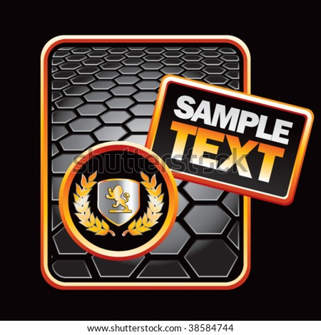 golden lion shield on black hexagon banner template