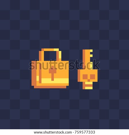 Golden lock and key pixel icon sticker design video game sprite isolated vector