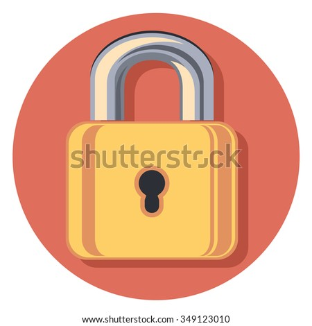 golden lock icon in circle with shadow - stock vector