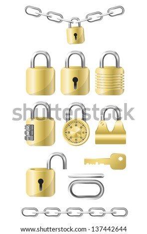 Golden Locks and Chains Icon Kit. Vector EPS10 format, .eps file. Lots of different padlocks / locks. Chain elements and two premade chains. Easy to edit and create combinations. - stock vector