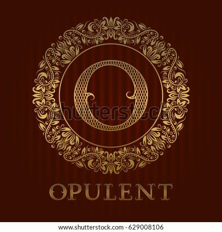 golden logo template for opulent boutique vector monogram