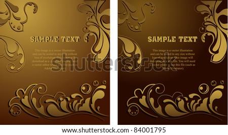 golden luxury flower vintage ornamental background - stock vector