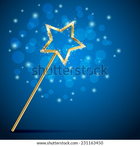 Golden magic wand on blue background, illustration. - stock vector