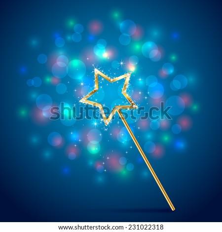 Golden magic wand on blue glittering background, illustration. - stock vector