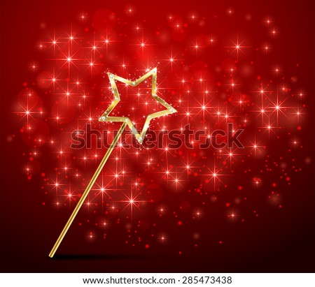 Golden magic wand on red sparkle background, illustration. - stock vector
