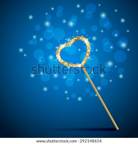 Golden magic wand with heart on blue background, illustration. - stock vector