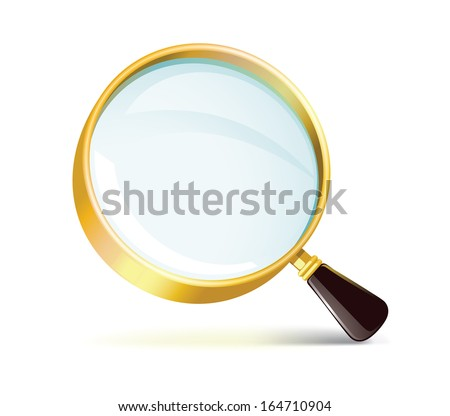 Golden Magnifying Glass Icon