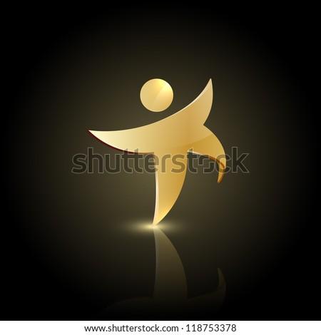 Golden man symbol. Winner icon logo. - stock vector