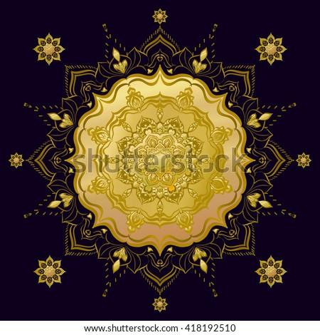Golden Mandala. Round Ornament Pattern. Geometric circle element made in vector. Spiritual and ritual symbol of Islam, Arabic, Indian religions.  Oriental motifs.    - stock vector