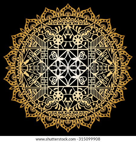 Golden Mandala round ornament, tribal ethnic pattern, arabic Indian motif, isolated decorative element for Invitation or Card design. Vector fashion illustration, hand drawn background - stock vector