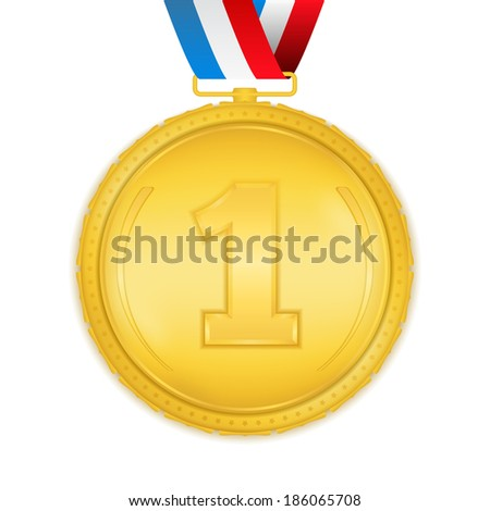 Golden medal with ribbon on white background, vector eps10 illustration