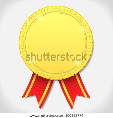 Golden medal with ribbon, vector eps10 illustration - stock vector