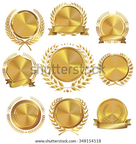 Golden medallion with laurel wreath collection - stock vector