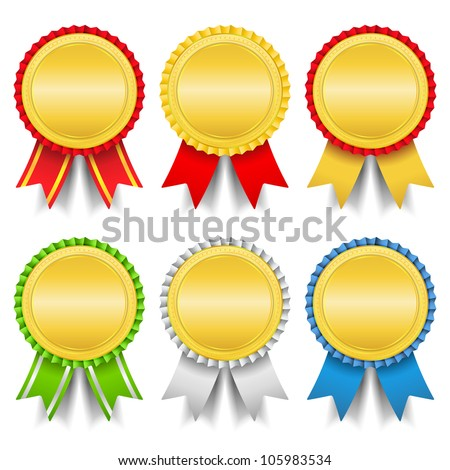 Golden medals, vector eps10 illustration - stock vector